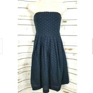 Gap Eyelet Dress Navy Blue Strapless Pockets